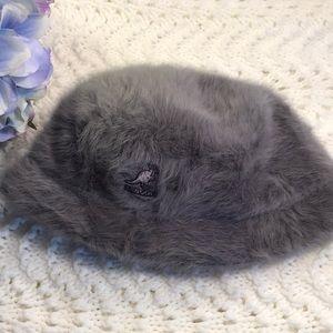 Gray hat down brim faux fur Kangol hat English hat